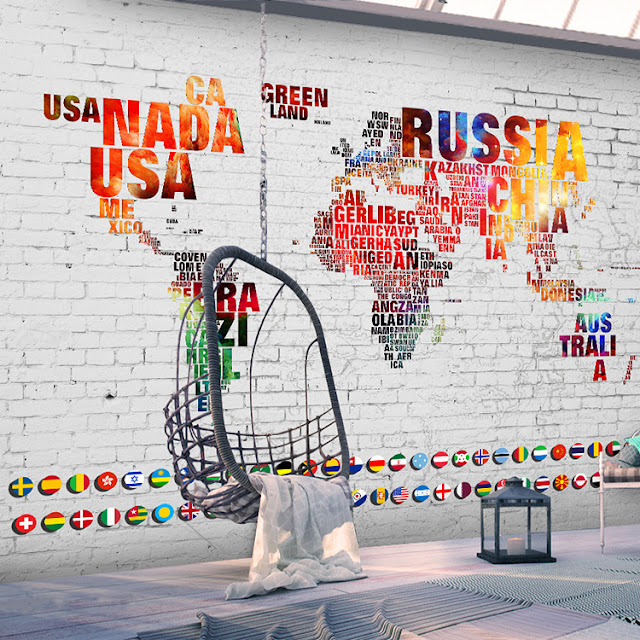 World Map Wall Mural Wall Countries Names Wallpaper Brick Wal Colors