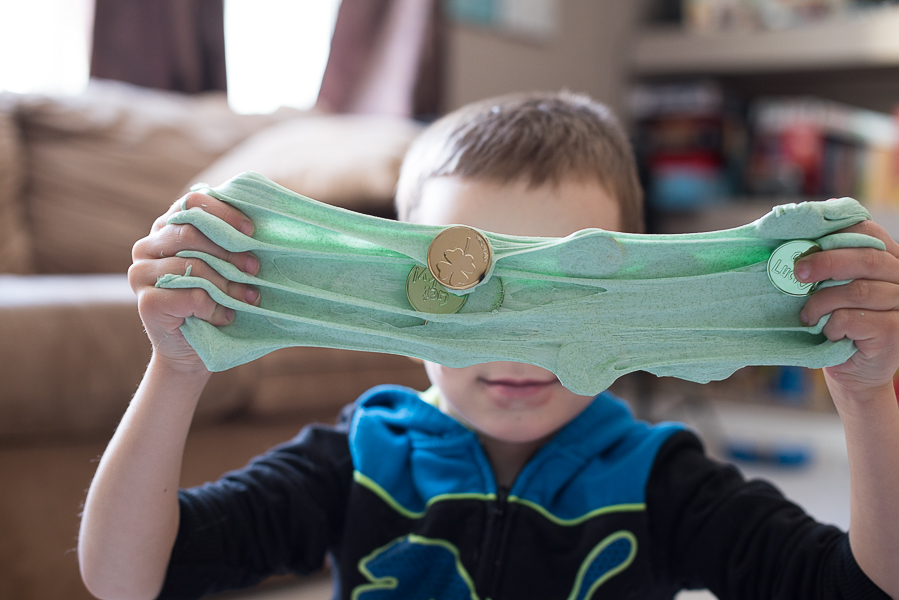 St. Patrick's Day slime recipe for kids from And Next Comes L