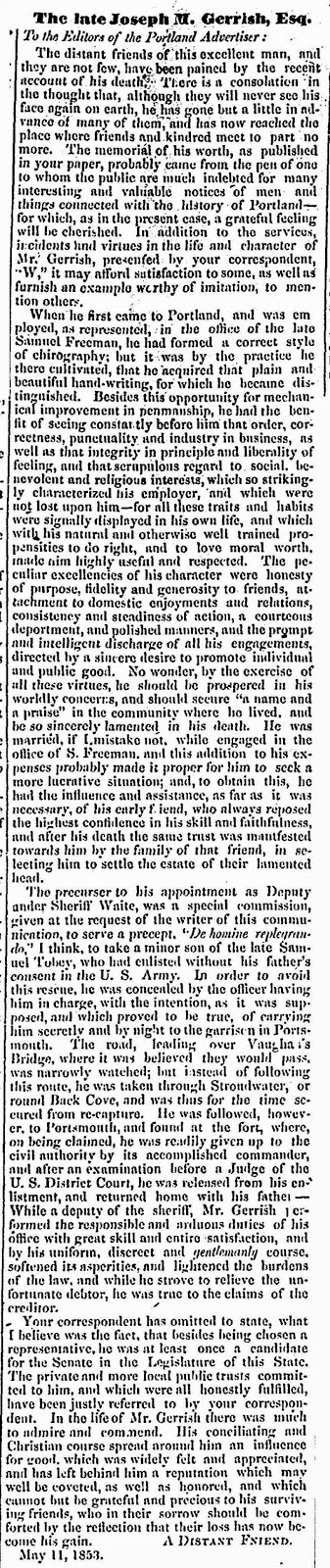 theraconteuseexpose gerrish line part joseph merriner gerrish date tuesday 20 1838 paper portland weekly advertiser portland me volume xl issue 20 page 4