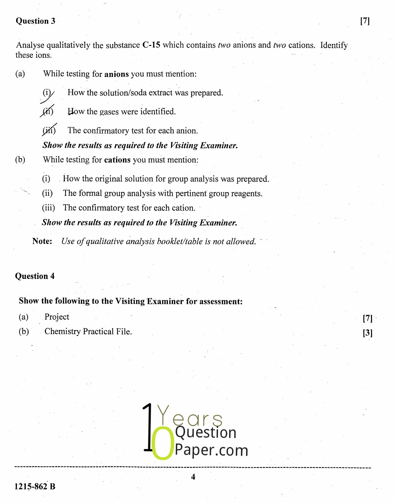 isc 2015 class 12th chemistry Practical question paper