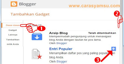 Cara Memasang Gadget Entri Populer di Blog