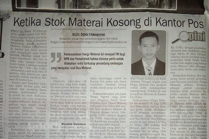 Meterai Habis di Kantor Pos (Analisis Deka Firhansyah)-Tulisan Terbit di Tribun Sumsel Senin, 5 Maret 2018