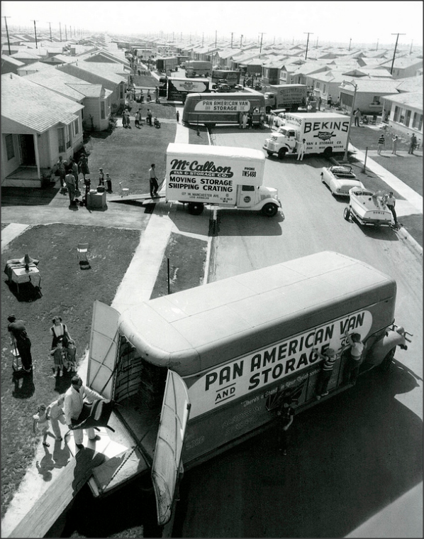 the suburbs 1950s Life Magazine, provided all the trucks for free. families moving into new suburban homes in Lakewood, California