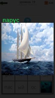 по волнам на море двигается лодка с белым парусом