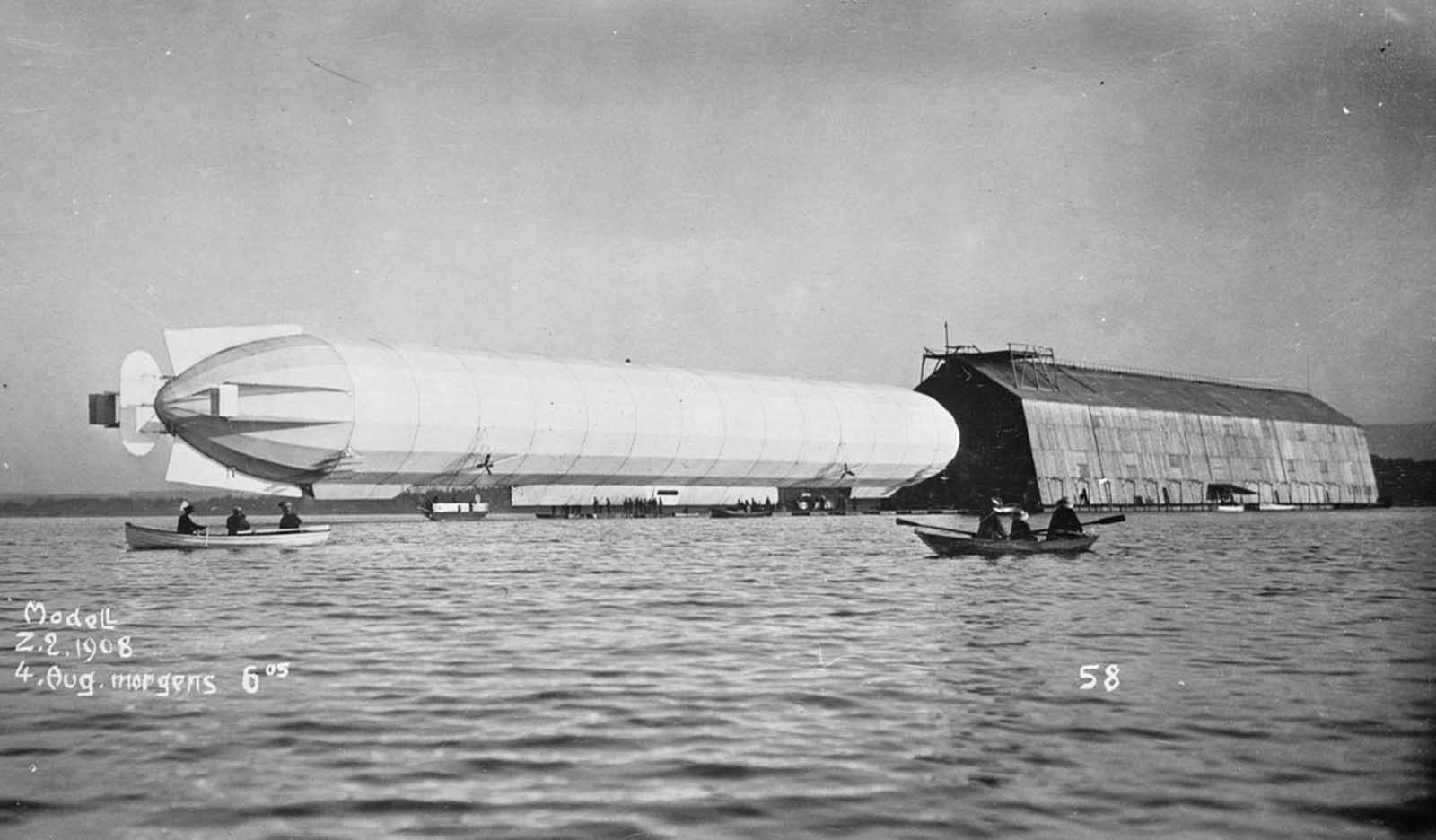 Zeppelin airship seen from water, August 4, 1908.