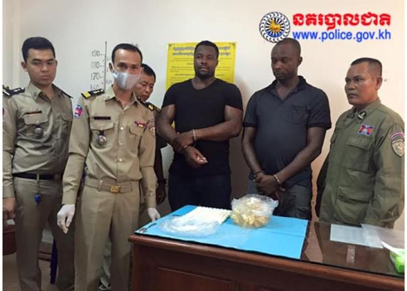 pictures of Nigerians Okafor Ifeanyi Anthony and Adibe Paschal arrested at Cambodia airport for smuggling cocaine