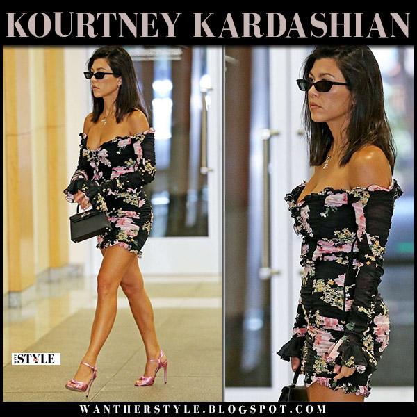 Kourtney Kardashian in black off shoulder floral alessandra rich dress and pink sandals gucci allie summer style july 26