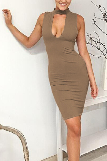 Kaiki Sexy Bodycon Sleeveless Midi Party Dress
