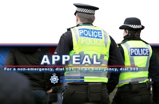 Image of Herts police crime alert and appeal