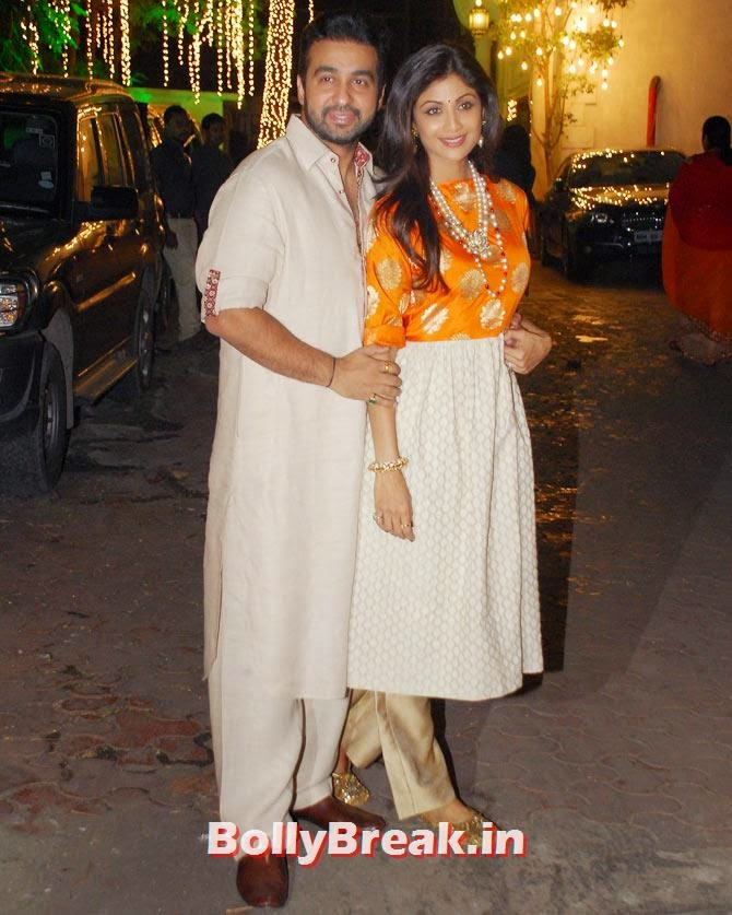 Raj Kundra and Shilpa Shetty, Shilpa Shetty's Diwali Bash 2014 Photos