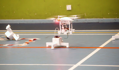 The drone from one of the teams attempting to pick up a package.