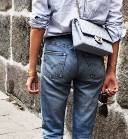 Cool Chic Style Fashion :  Pale blue Chanel Bag - 2.55 From the Back via Rdujour