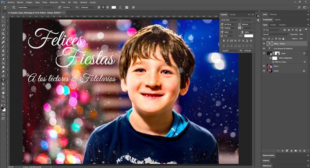 Tutorial: Capa de copos de nieve con Photoshop - Añadir texto