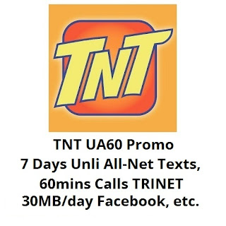 TNT UA60 : Unli All-Net Texts, 60mins Trinet Calls and 30MB/day Facebook for 7 Days
