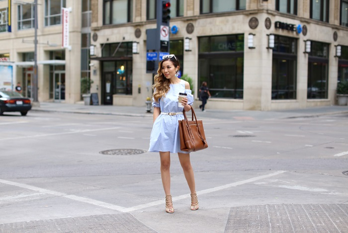 Tibi cutout shoulder dress, dallas street style, alexander mcqueen bag, schutz sandals, baublebar earrings, quay sunglasses, street style, rsthecon, rsthecon dress