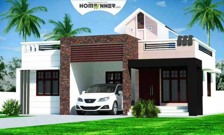 Rectangular kerala home plans design low cost 976 sq ft for Low cost house plans with photos in kerala