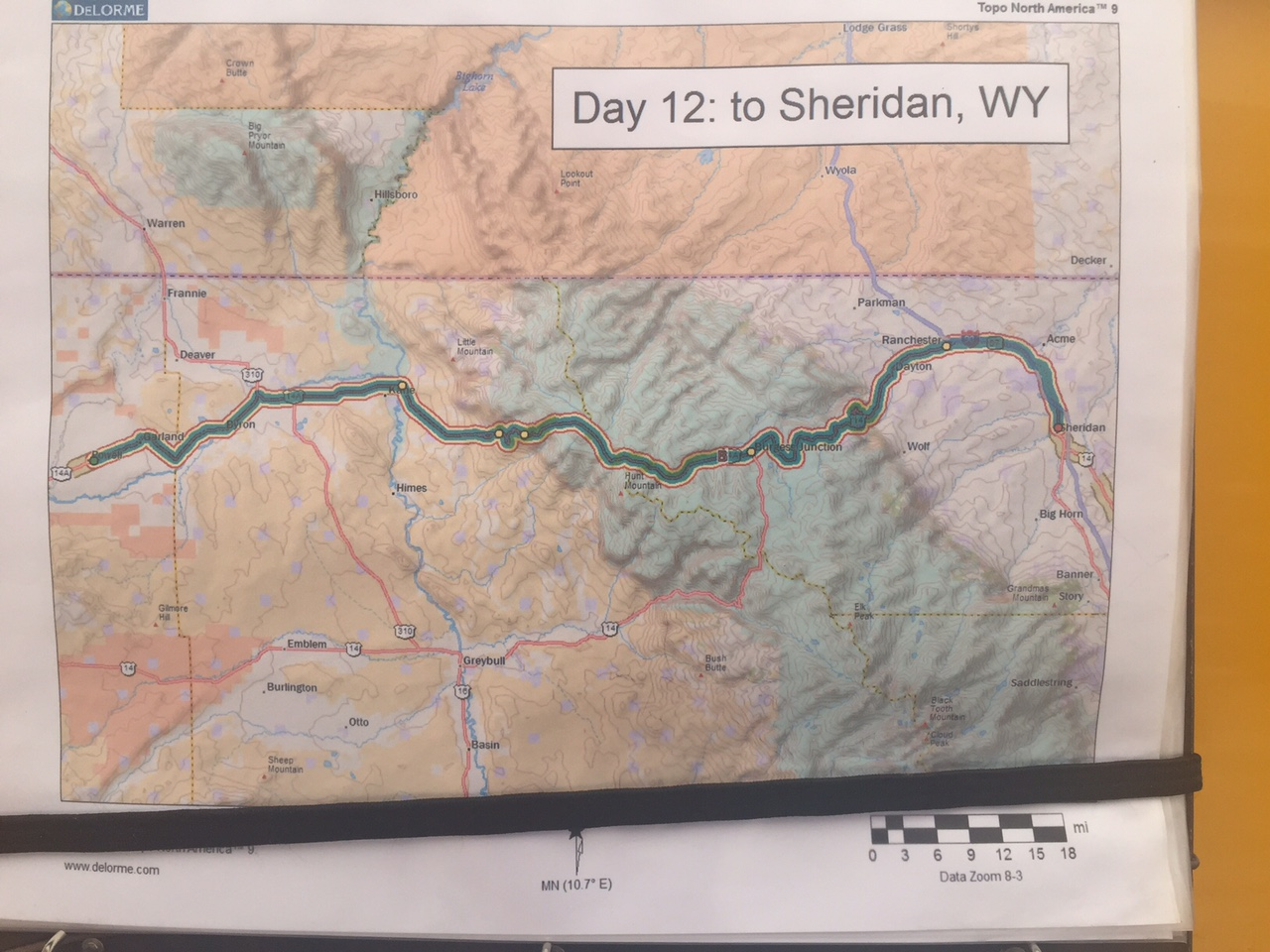 day 12 powell wy to sheridan wy 122 miles 7300 cumulative climbing