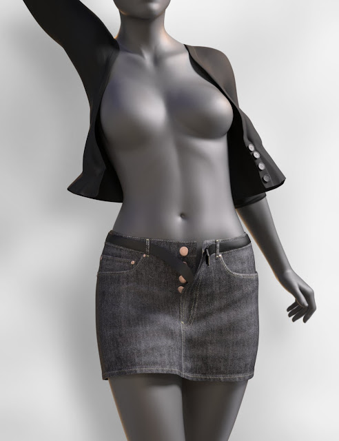 JeanZ Skirt Outfit for Genesis 3 Female