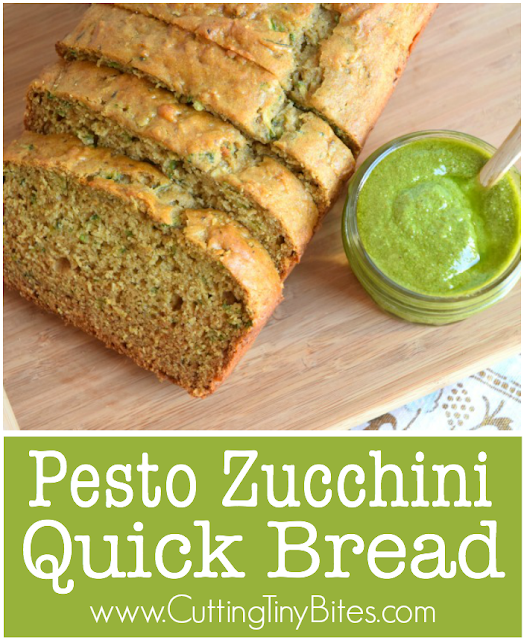 Pesto Zucchini Quick Bread. This moist, savory quick bread makes a perfect afternoon snack for kids or grownups.