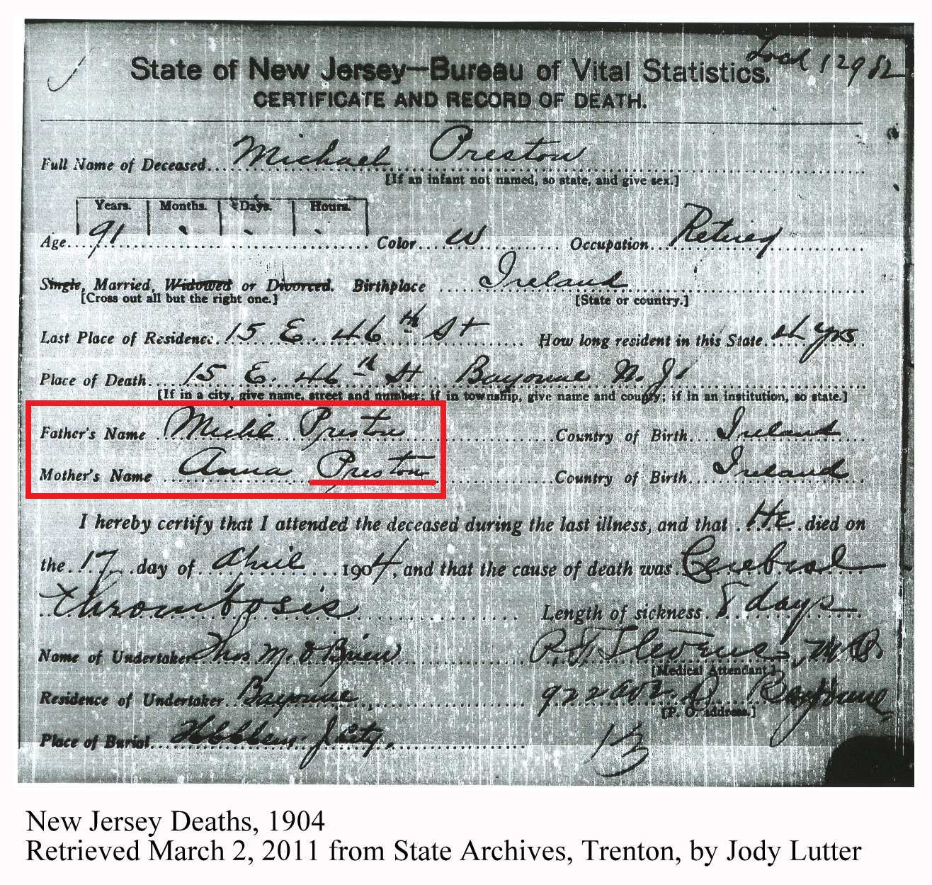 Family history research by jody preston dna puzzle piece michaels death certificate does not provide a surname for his mother xflitez Images