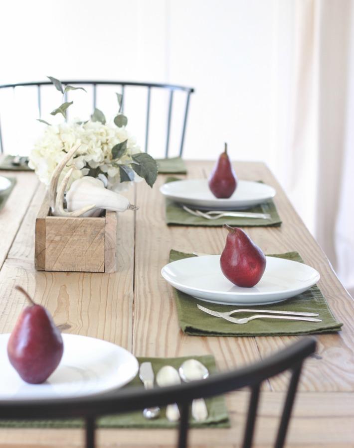 mesa otoño con peras ayudaadecorar.blogspot.com.es