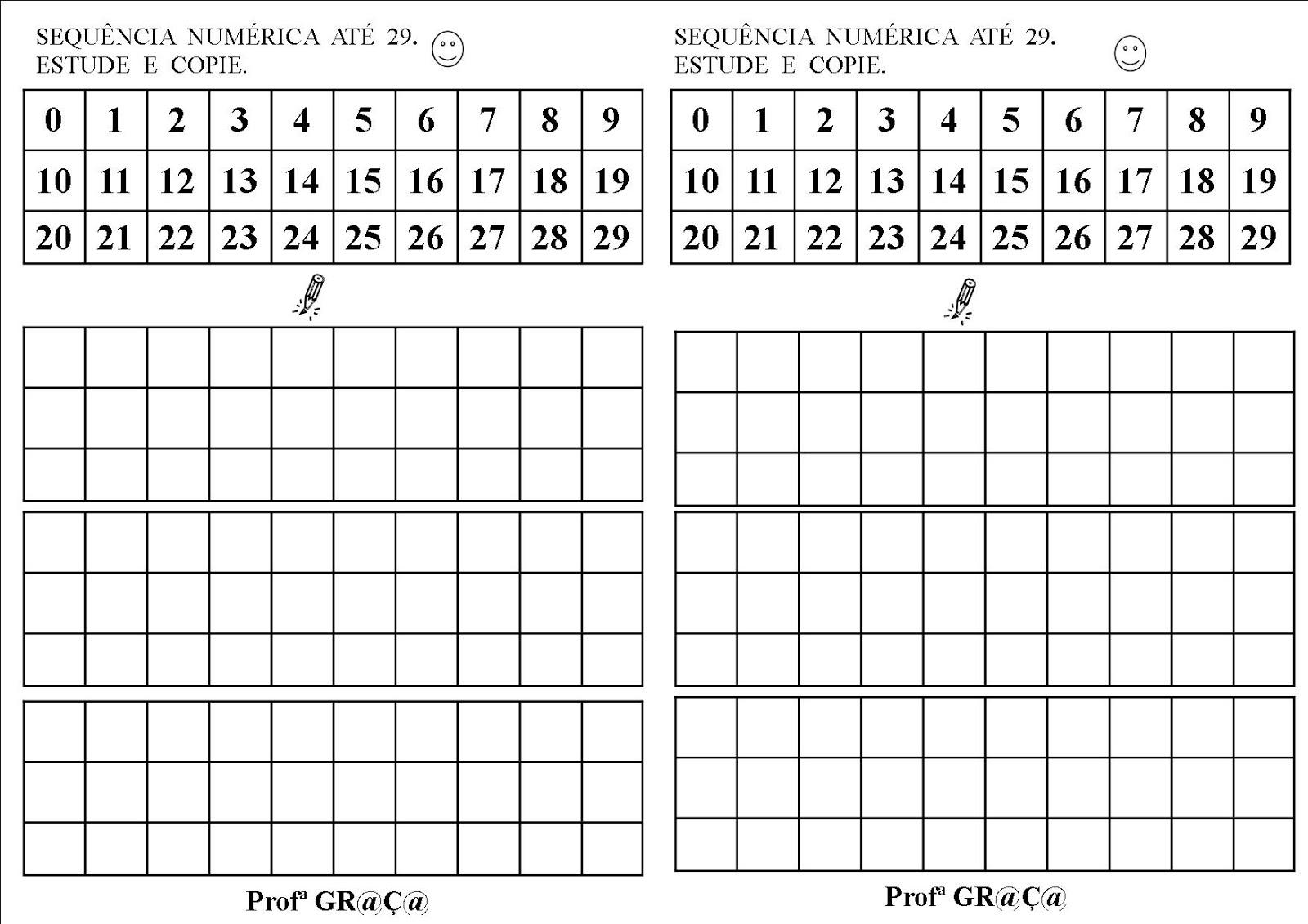 Alfabetizando Com Gr At ç At Sequência Numérica Até 29 Estude E Copie