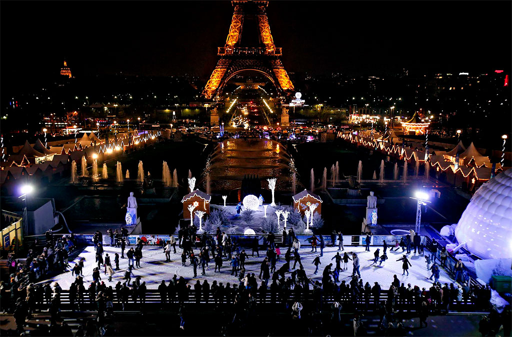 Ice Skating Eiffel Tower Paris