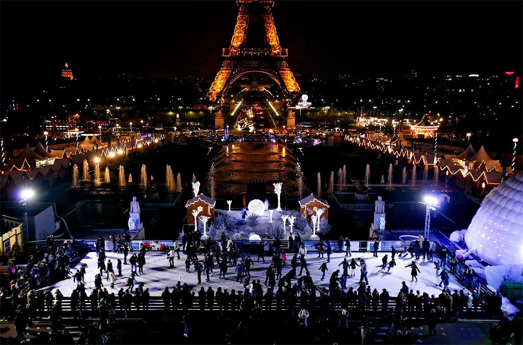 Ice Skating Eiffel Tower Paris