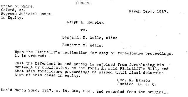 Court Decree Document benny wells versus ralph herrick