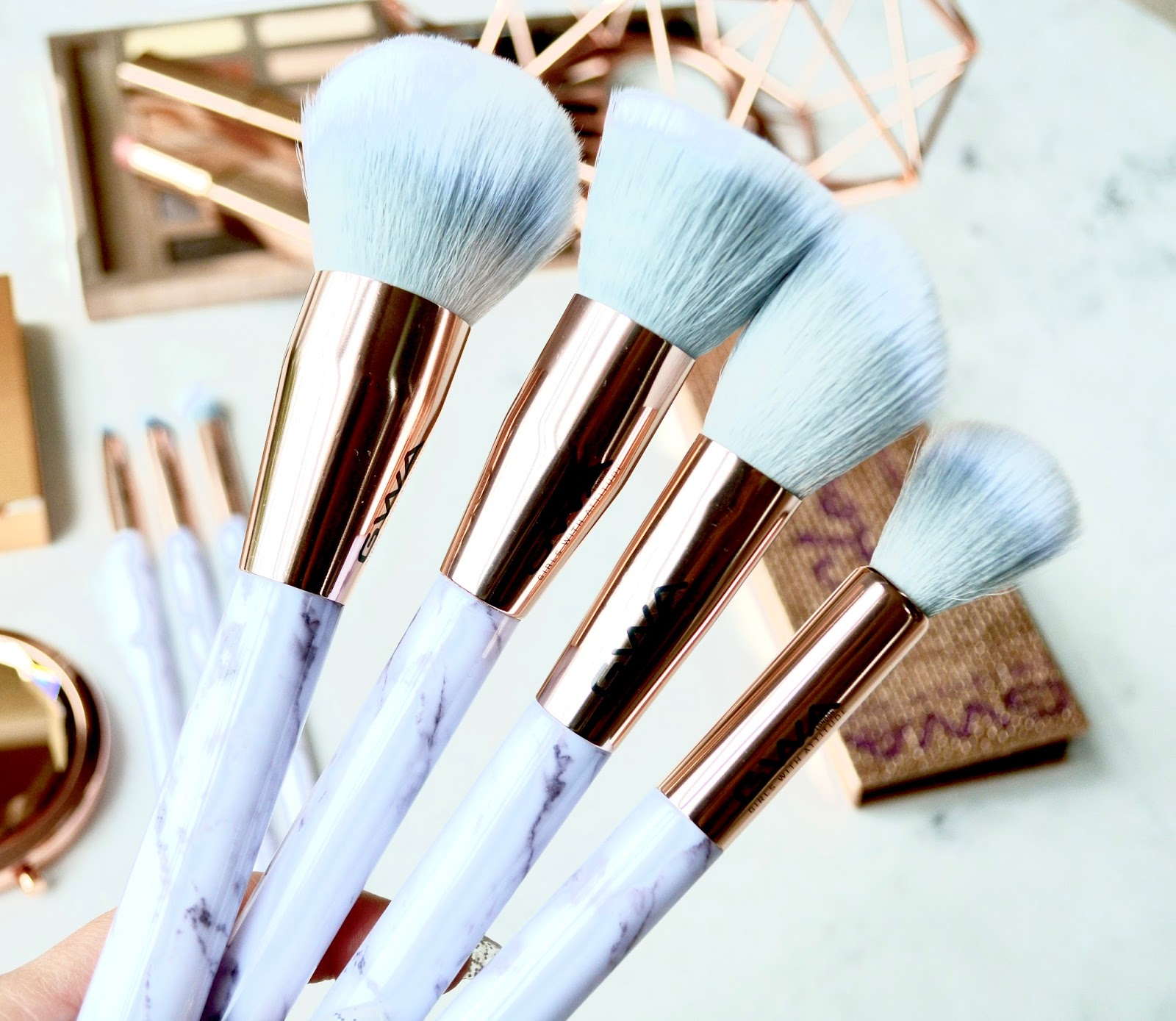 Girls With Attitude Marble and Rose Gold Makeup Brushes