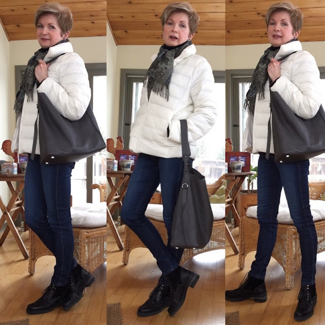 three shots of a woman in jeans, scarf, and white down jacket
