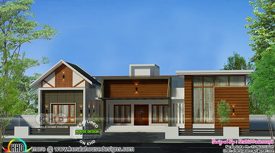 Mixed roof modern 4 bedroom single storied home