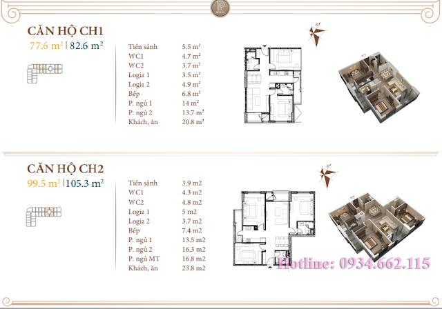 Loại hình căn hộ 01-02 tòa B1 Roman Plaza
