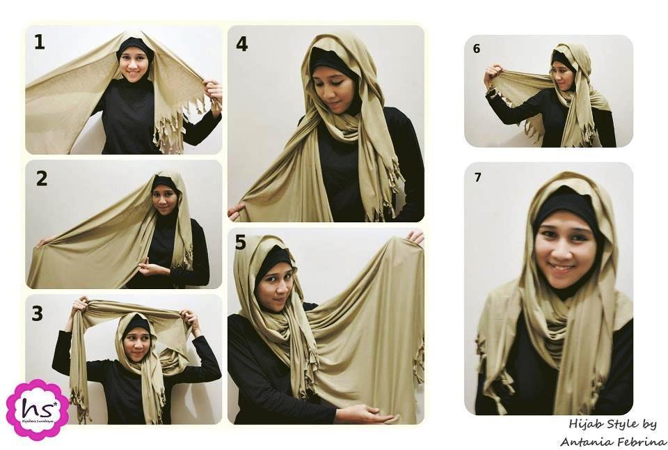 Gambar Cara Memakai Jilbab Selendang Terbaru