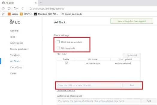 Mematikan Adblock UC Browser di PC