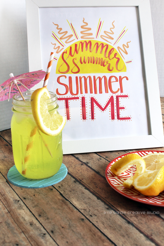 summer sip, summer time, lemons, hand lettering, summer art print