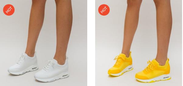 Adidasi femei albi, galbeni din panza de calitate moderni simpli