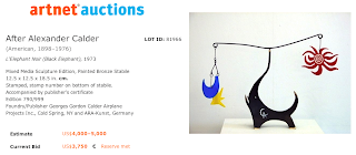 Sculpture Misattributed to Alexander Calder Sold 5/1/13 by artnet.com for $4,715 that attracted 5 bids