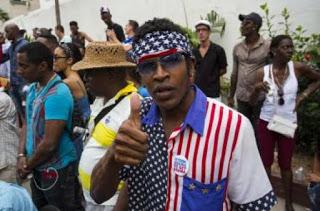 un afro-cubano fan de USA, chocó colombiano, Barranquilla, Panama