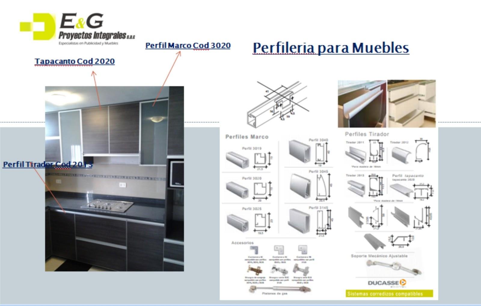 E y g proyectos integrales muebles en melamina aluminio for Perfiles aluminio para muebles