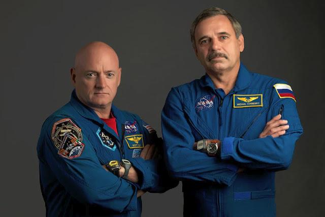 Scott Kelly e Mikhail Kornienko, integrantes da missão de 1 ano no espaço