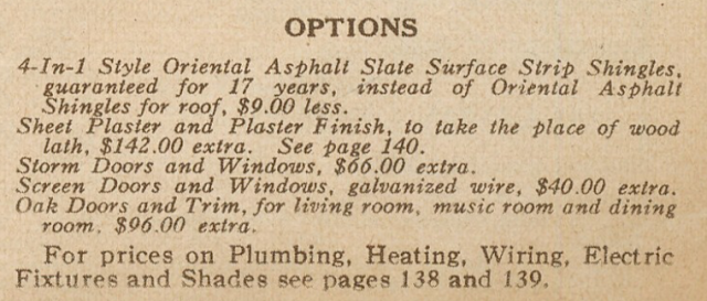 Sears Modern Homes catalog showing additional options listed for the Ardara, in 1928