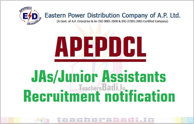 APEPDCL,JAs/Junior Assistants,Recruitment 2016 notification