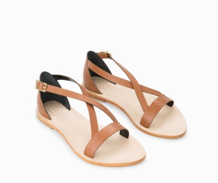 Mango Leather Strap Sandals