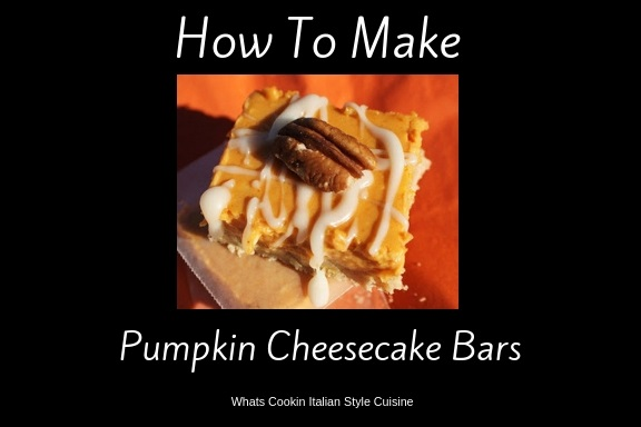 these are an easy how to make pumpkin cheesecake bars. These are creamy filled bars with a cookie crust on the bottom. Drizzled with powdered sugar frosting and pecans on top. They are on orange napkins and a Thanksgiving and Halloween Fall Treat.