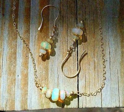 minimalist dainty bar opal necklace graduated gold chain earrings handmade jewelry