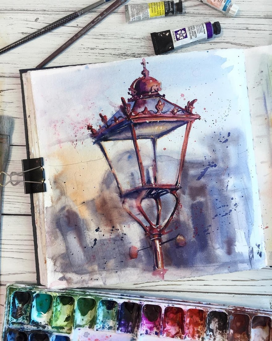 07-Street-Lamp-Alena-Ponkratova-Street-Lamps-Oil-Lamps-and-Candle-Light-Lamps-Watercolors