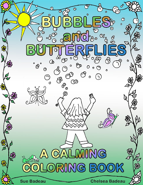 "FIRST look at Chelsea and @SueBadeau cover for ""Bubbles and Butterflies - A Calming Coloring Book""!"