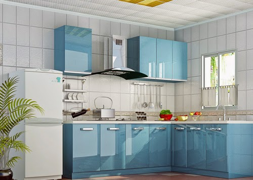 Dapur Modern Dan Elegan Dengan Nuansa Warna Biru Dekorasi Ruangan Rumah Kita