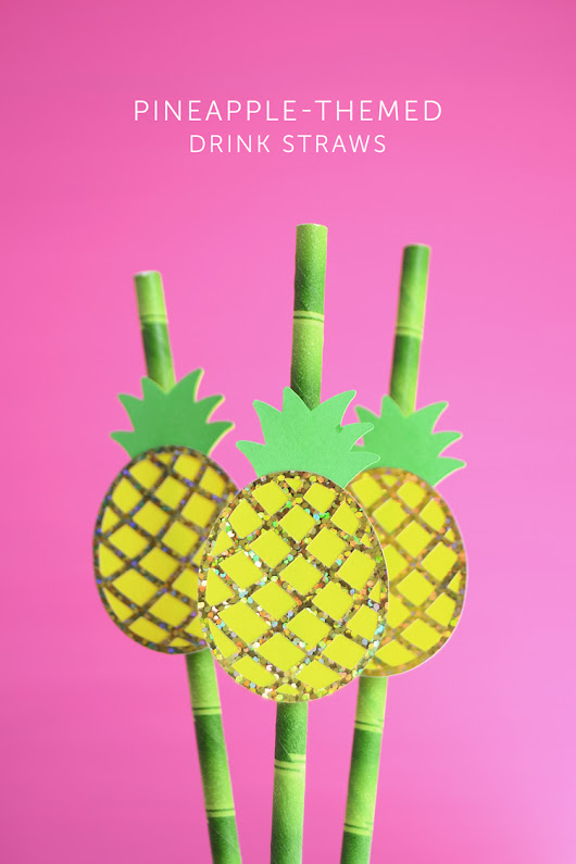 DIY Pineapple Drink Straws with Free Template